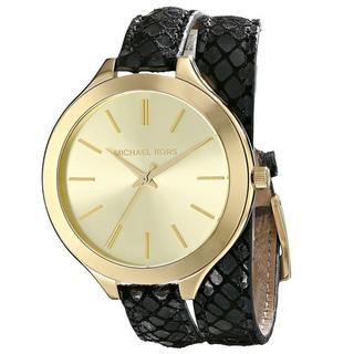 Michael Kors Women's MK2315 Slim Runway Goldtone Black Leather Watch
