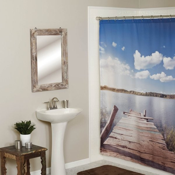 Dock of the Lake Fabric Shower Curtain