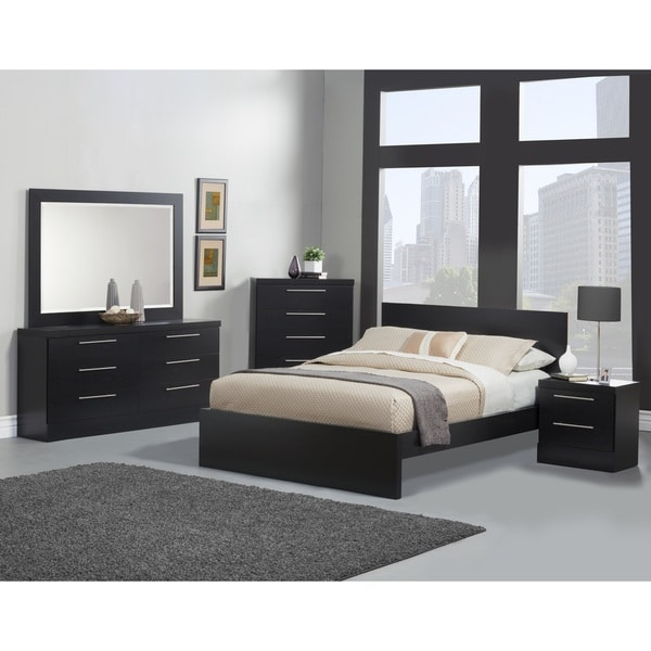Sandberg Furniture Diamante Black Platform Bed