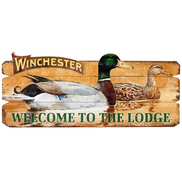 Winchester Welcome To The Lodge Decorative Wood Sign