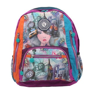 Nicole Lee New York 2 Print Water-resistant Crinkle Nylon 17-inch Backpack