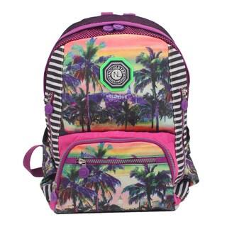 Nicole Lee Hollywood Print Water-resistant Crinkle Nylon 17-inch Backpack