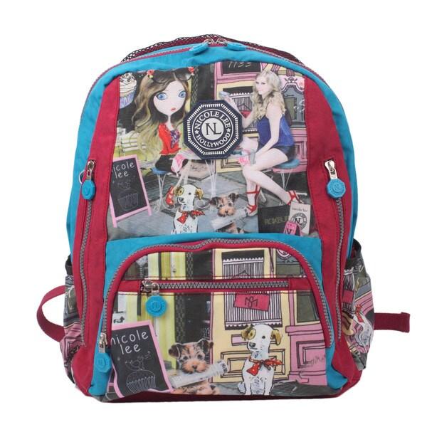 Nicole Lee Cupcake Girl Print Water-Resistant Crinkle Nylon 17-inch Backpack