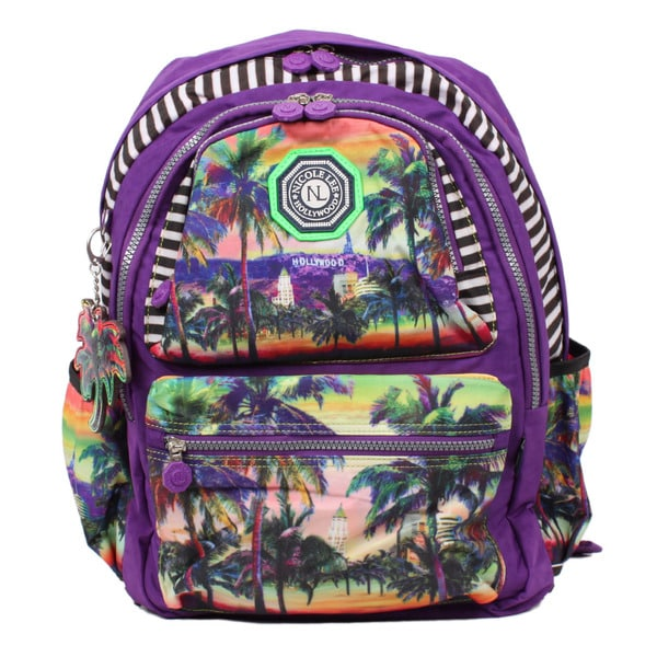 Nicole Lee Hollywood Print Water-Resistant Crinkle Nylon 17-inch Laptop Backpack
