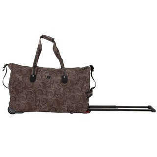 CalPak 'Madison' Brown Petals 21-inch Carry On Rolling Upright Duffel Bag