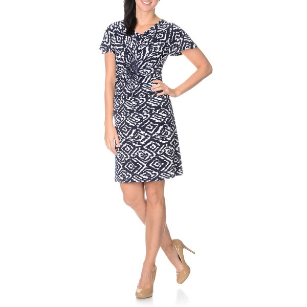 Lennie for Nina Leonard Women's Navy/ White Tribal Print Stretch Dress