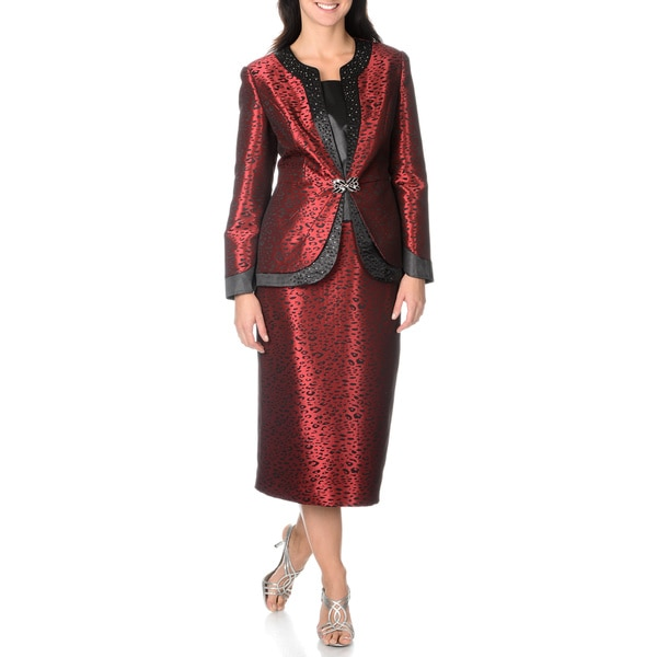 Mia-Suits Collection Women's Black/Red Leopard Pattern Skirt Suit