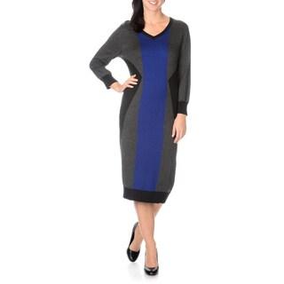 Lennie for Nina Leonard women's V-Neck Colorblock Knit Dress