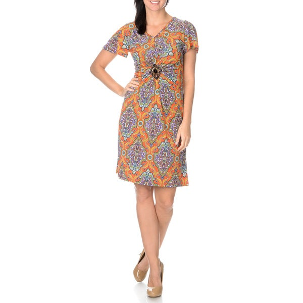Lennie for Nina Leonard Women's Mandarin Red Multi Printed Stretch Dress
