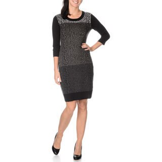 Lennie for Nina Leonard Women's 3/4 Sleeve, Leopard Printed Front Knit Dress