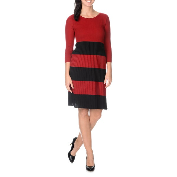 Lennie for Nina Leonard Women's 3/4 Sleeve Pullover Rib Knit Dress With Wide Stripe Skirt