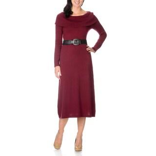 Lennie for Nina Leonard Women's Fold Over Neck Dress