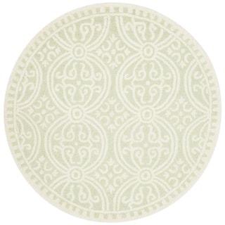 Safavieh Handmade Moroccan Cambridge Light Green/ Ivory Wool Rug (4' Round)