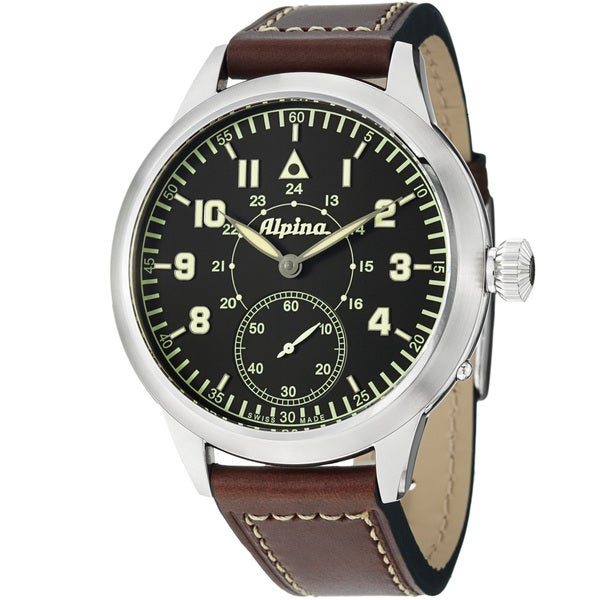 Alpina Men's AL-435LB4SH6 'Pilot Heritage' Black Dial Brown Leather Strap Mechanical Watch