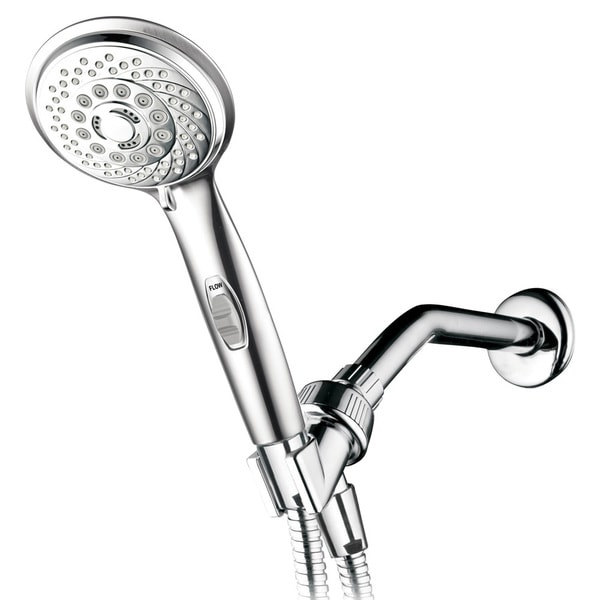 HotelSpa 7 Settings Hand Shower with Pause Switch, Extra Long Hose, Angle Adjustable Bracket and Bonus Low Reach Bracket