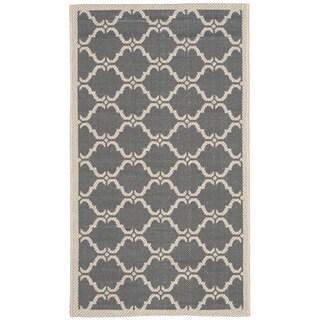 Safavieh Indoor/ Outdoor Moroccan Courtyard Anthracite/ Beige Rug (2' x 3'7)