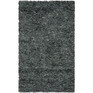 Safavieh Handmade Leather Shag Grey Leather Rug (3' x 5')