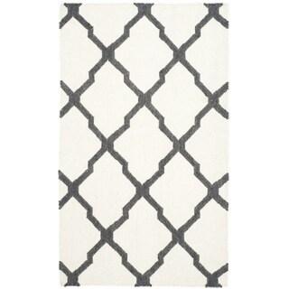 Safavieh Hand-woven Dhurries Ivory/ Charcoal Wool Rug (3' x 5')