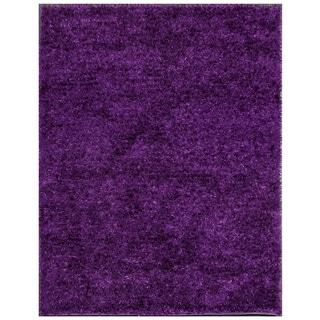 Bold and Beautiful Purple Shag Solid Area Rug (2' x 6'10)