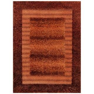 Decorative Rust and Brown Shag Stirpe Area Rug (2' x 4')