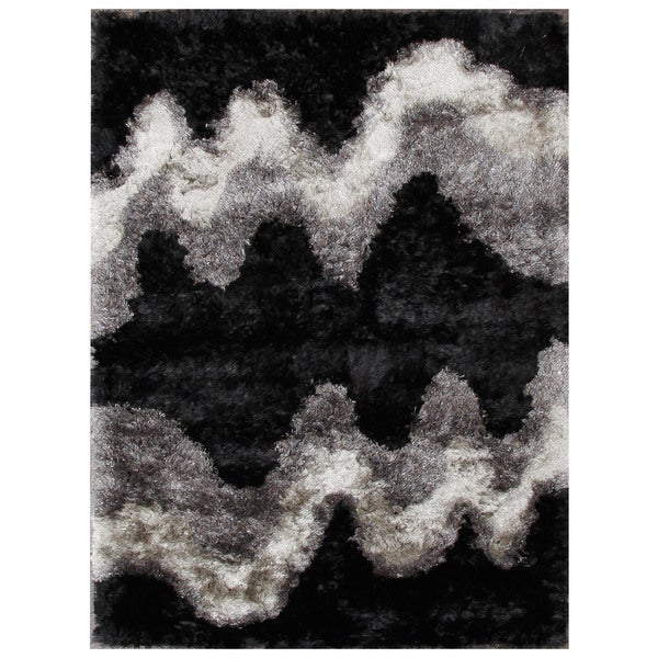 Zig-zag Black and Grey Shag Stripe Area Rug (5'1 x 8'2)