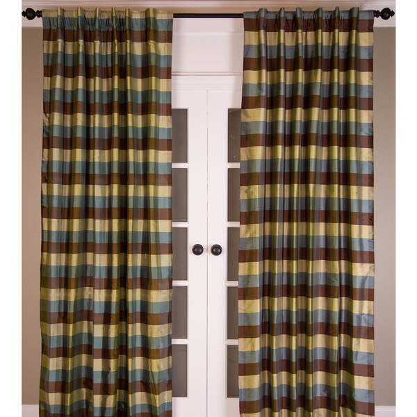 Signature Pure Silk Dupioni Check Curtain Panel