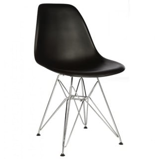 Contemporary Retro Molded Eames Style Black Accent Plastic Dining Shell Chair with Steel Eiffel Legs