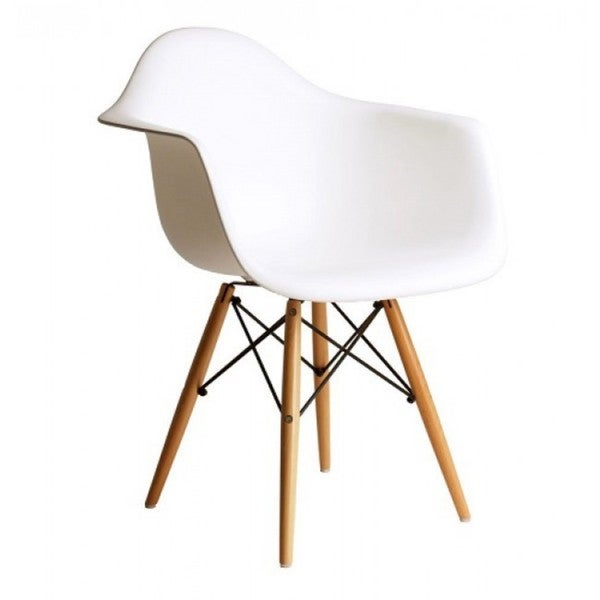 Contemporary Retro Molded Eames Style White Accent Plastic Dining Armchair with Wood Eiffel Legs