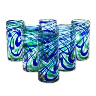 Handmade Elegant Energy Highball Blown Glasses, Set of 6 (Mexico)