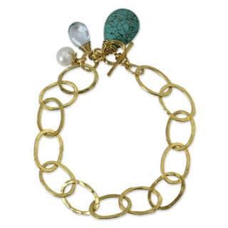 Gold Plated Multi-gem Brass 'Modern Marvel' Link Bracelet (Thailand)