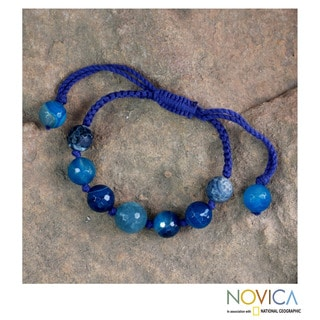 Handcrafted Agate 'Tropical Isle' Shamballa Bracelet (India)
