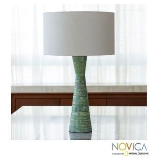 Handcrafted Stoneware Ceramic 'Tulum Sea' Table Lamp( Mexico)
