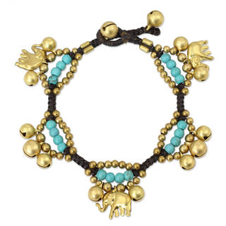 Brass Calcite 'Fortune's Blue Melody' Charm Bracelet (Thailand)