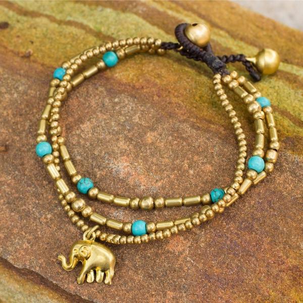 Brass Calcite 'Thai Elephant Charm' Beaded Bracelet (Thailand)