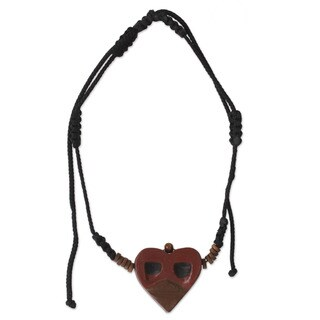 Handcrafted Men's Ofram Wood 'Kwele Ghost Love' Necklace (Ghana)