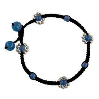 Chalcedony 'Blue Mood' Beaded Anklet (India)