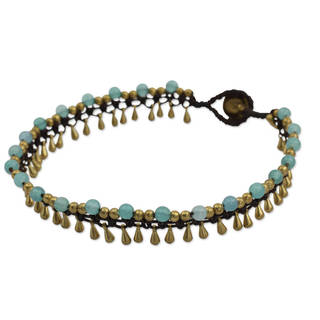 Handcrafted Brass 'Blue Dancer' Quartz Anklet (Thailand)