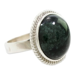 Sterling Silver 'Green Mystery' Jade Ring (Guatemala)