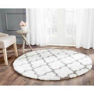 Safavieh Handmade Barcelona Shag White/ Silver Polyester Rug (5' Round)