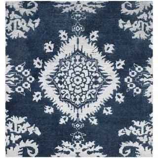 Safavieh Hand-knotted Stone Wash Indigo Wool/ Cotton Rug (6' Square)