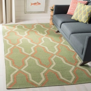Safavieh Hand-woven Dhurries Green/ Rust Wool Rug (9' x 12')