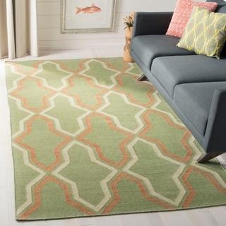 Safavieh Hand-woven Dhurries Green/ Rust Wool Rug (9' x 12')