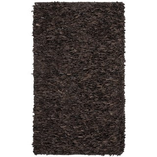 Safavieh Handmade Leather Shag Dark Brown Leather Rug (9' x 12')