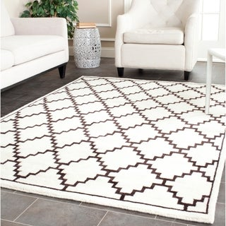 Safavieh Hand-knotted Moroccan Mosaic Beige/ Charcoal Wool/ Viscose Rug (9' x 12')