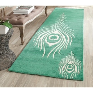 Safavieh Handmade Soho Teal/ Ivory New Zealand Wool/ Viscose Rug (2'6 x 8')