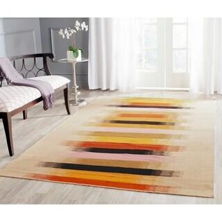 Safavieh Hand-woven Dhurries Beige/ Multi Wool Rug (4' x 6')