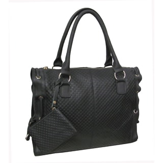 Amerileather 'Alpha' Black Cowhide Leather Tote Bag