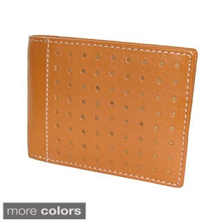 Leather Wallet with Perforation and White Stitching Design