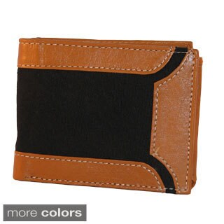 Men's Leather and Canvas Bi-fold Wallet