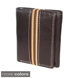 Elastic Band Closure Cowhide Leather Tri-fold Wallet